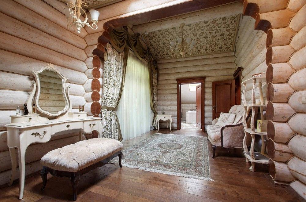 Интерьеры в домах из оцилиндрованного бревна