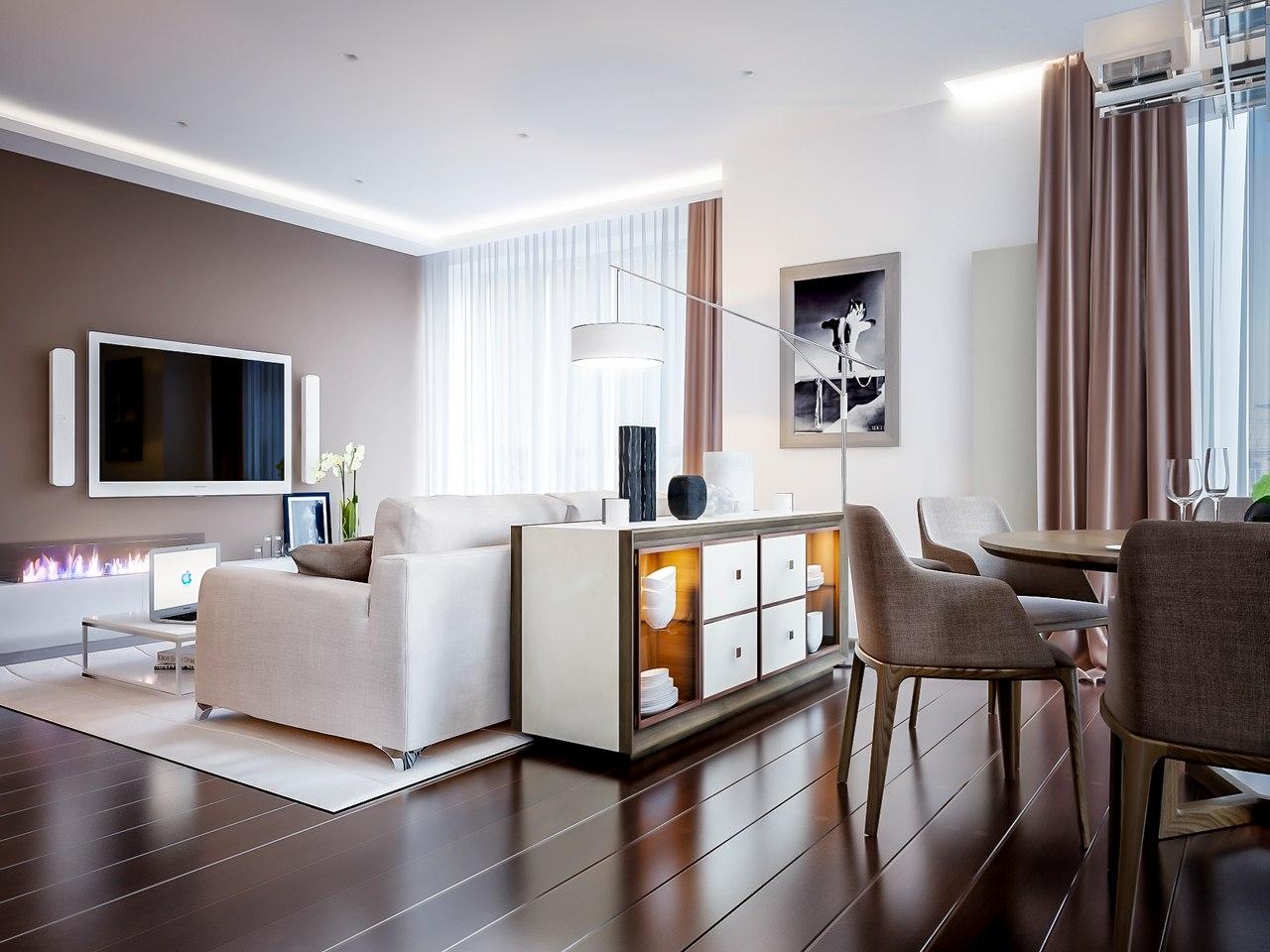 Дизайн гостиной в молочном цвете