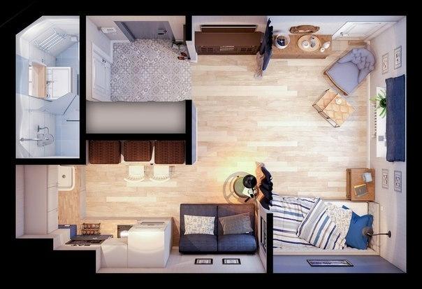 Дизайн студии 24 кв.м