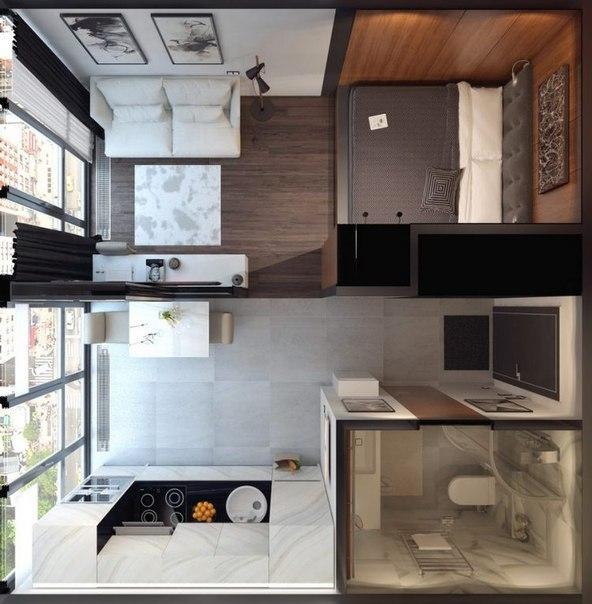 Дизайн проект однокомнатной квартиры пример