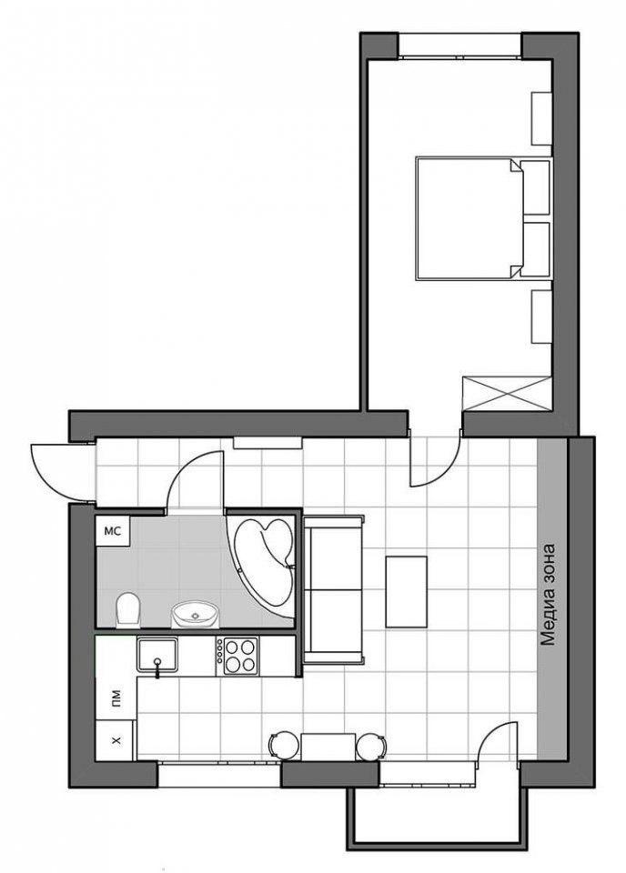 Перепланировка 1-комнатной квартиры в панельном доме в