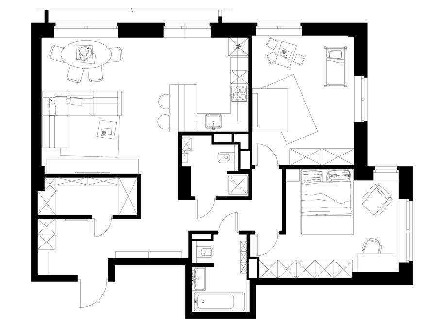 Дизайн проект трехкомнатной квартиры 90 кв.м